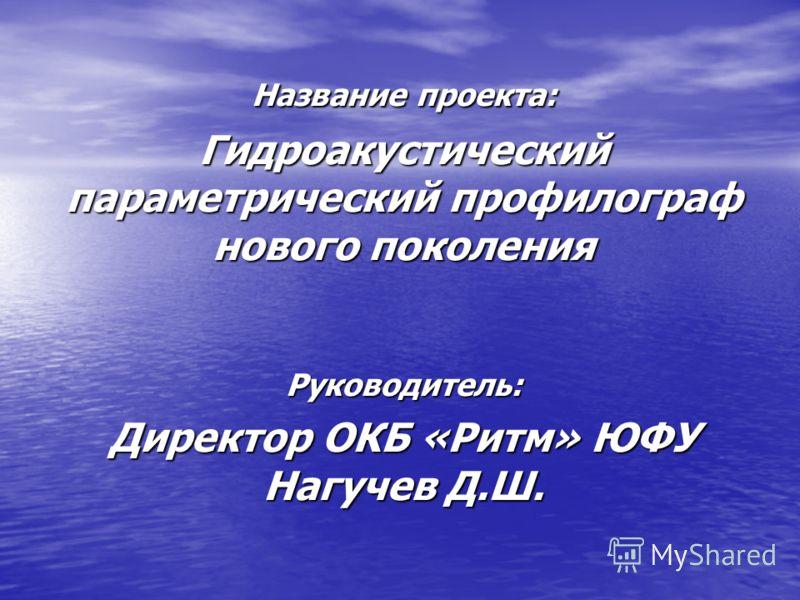 Название проекта: Гидроакустический параметрический профилограф нового поколения Руководитель: Директор ОКБ «Ритм» ЮФУ Нагучев Д.Ш.