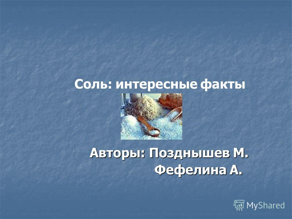 Соль: интересные факты Авторы: Позднышев М. Авторы: Позднышев М. Фефелина А. Фефелина А.