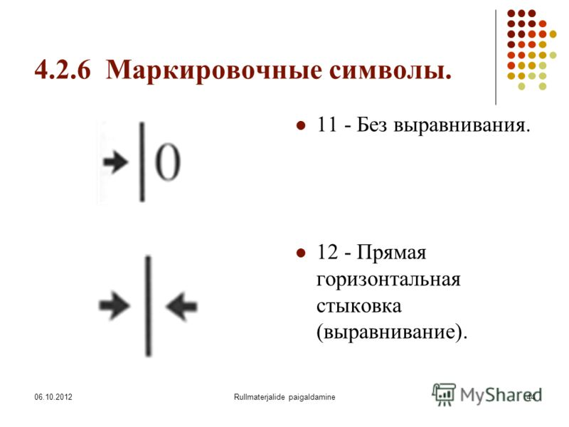 09.08.2012Rullmaterjalide paigaldamine44 4.2.6 Маркировочные символы. 11 - Без выравнивания. 12 - Прямая горизонтальная стыковка (выравнивание).