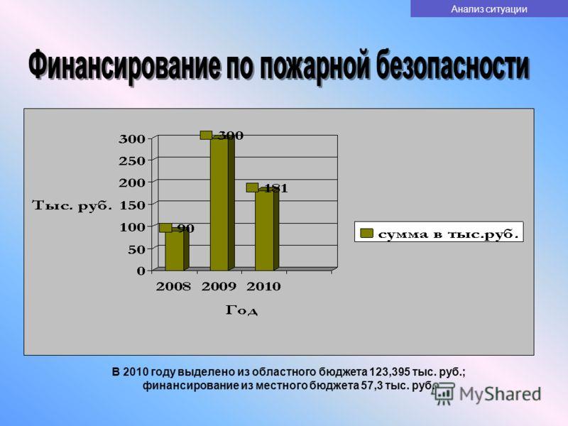 В 2010 году выделено из областного бюджета 123,395 тыс. руб.; финансирование из местного бюджета 57,3 тыс. руб. Анализ ситуации
