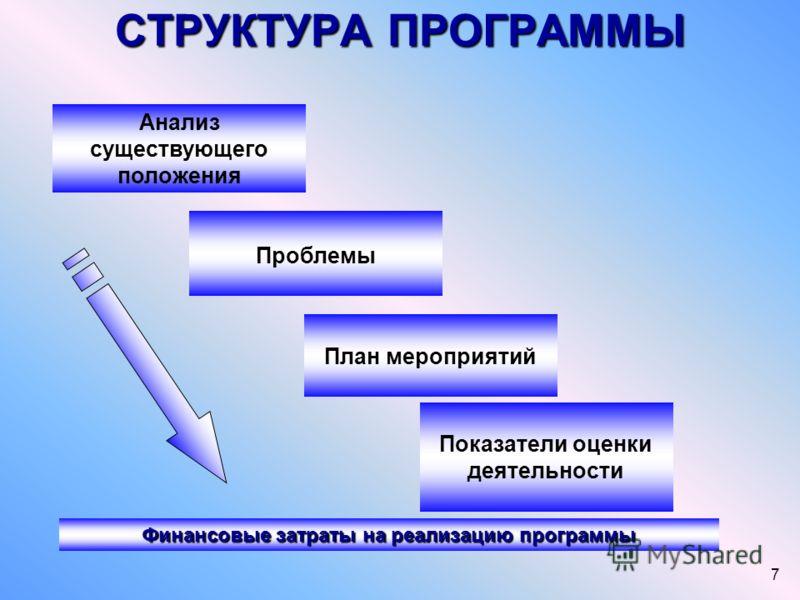 7 СТРУКТУРА ПРОГРАММЫ Финансовые затраты на реализацию программы Анализ существующего положения Проблемы План мероприятий Показатели оценки деятельности