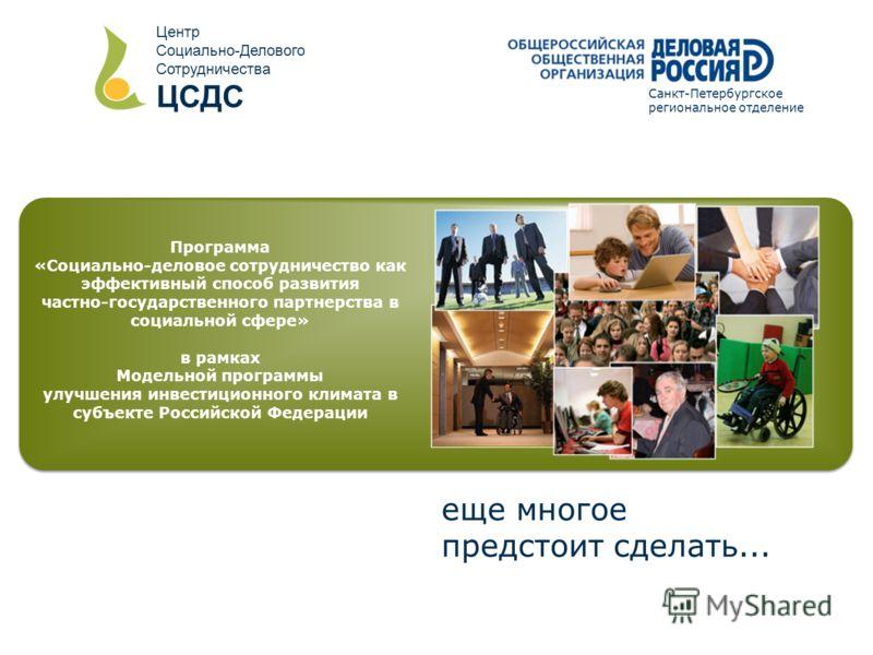 Программа «Социально-деловое сотрудничество как эффективный способ развития частно-государственного партнерства в социальной сфере» в рамках Модельной программы улучшения инвестиционного климата в субъекте Российской Федерации еще многое предстоит сд
