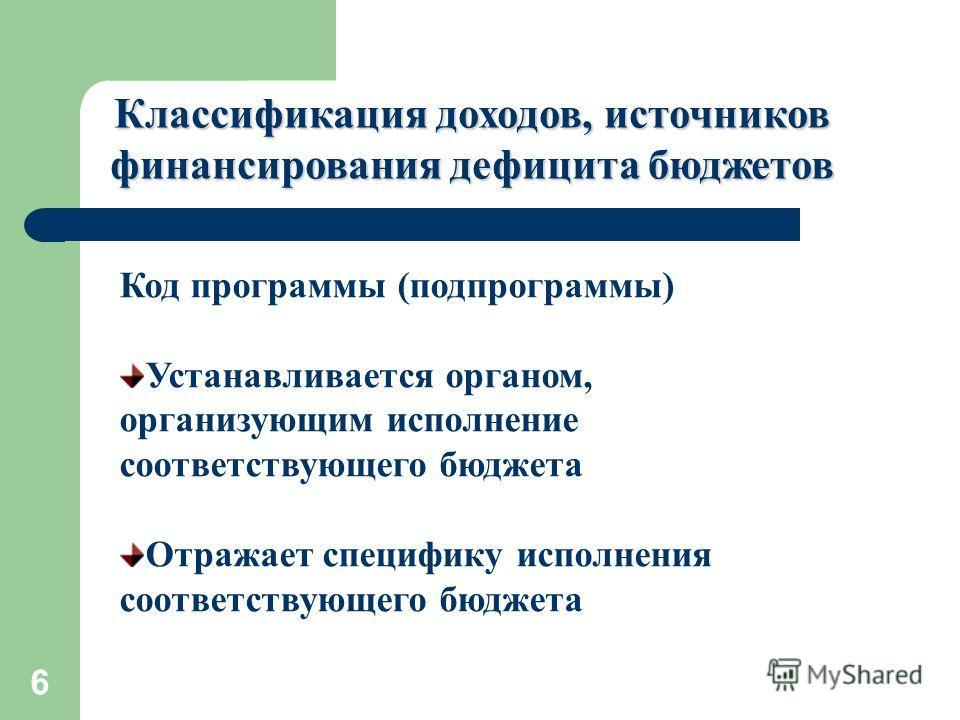 6 Классификация доходов, источников финансирования дефицита бюджетов Код программы (подпрограммы) Устанавливается органом, организующим исполнение соответствующего бюджета Отражает специфику исполнения соответствующего бюджета