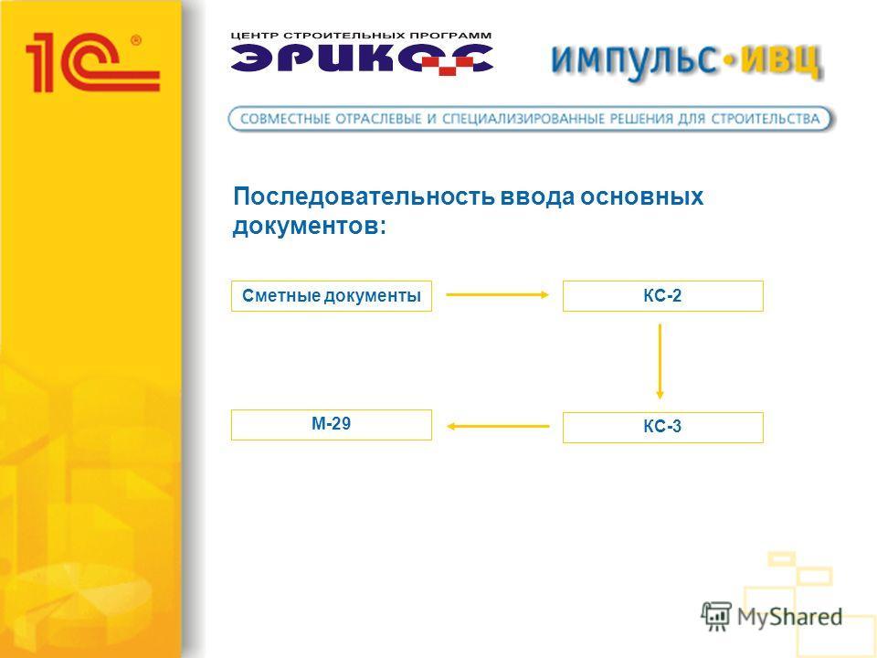 Последовательность ввода основных документов: Сметные документыКС-2 КС-3 М-29