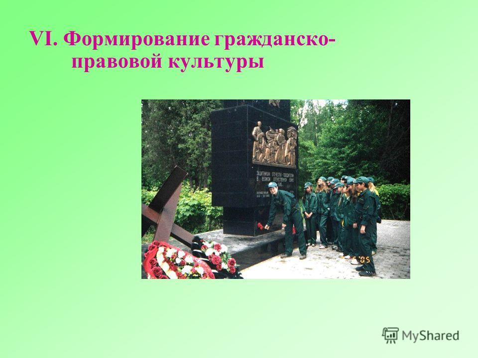 VI. Формирование гражданско- правовой культуры