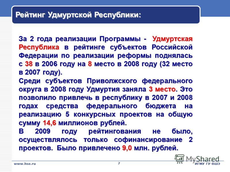 Рейтинг Удмуртской Республики: 7 7 За 2 года реализации Программы - Удмуртская Республика в рейтинге субъектов Российской Федерации по реализации реформы поднялась с 38 в 2006 году на 8 место в 2008 году (32 место в 2007 году). Среди субъектов Привол