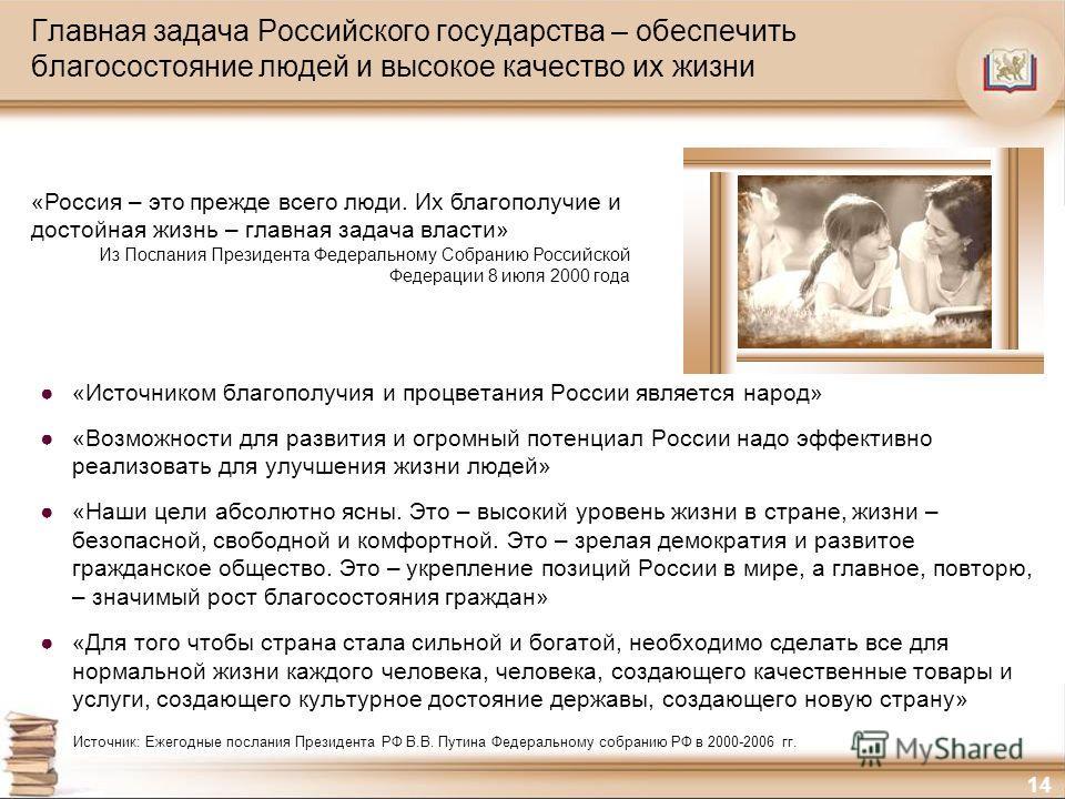 14 Главная задача Российского государства – обеспечить благосостояние людей и высокое качество их жизни «Источником благополучия и процветания России является народ» «Возможности для развития и огромный потенциал России надо эффективно реализовать дл