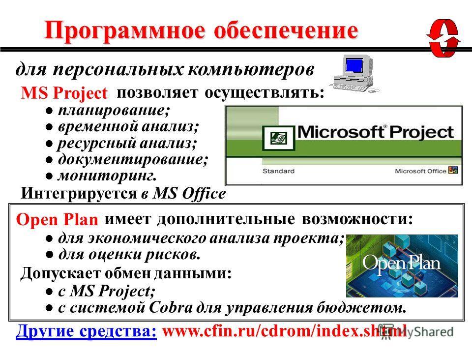 для персональных компьютеров MS Project планирование; временной анализ; ресурсный анализ; документирование; мониторинг. для экономического анализа проекта; для оценки рисков. позволяет осуществлять: Интегрируется в MS Office имеет дополнительные возм