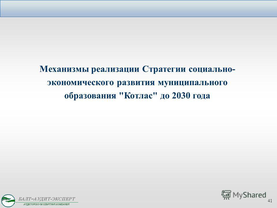 Механизмы реализации Стратегии социально- экономического развития муниципального образования Котлас до 2030 года 41
