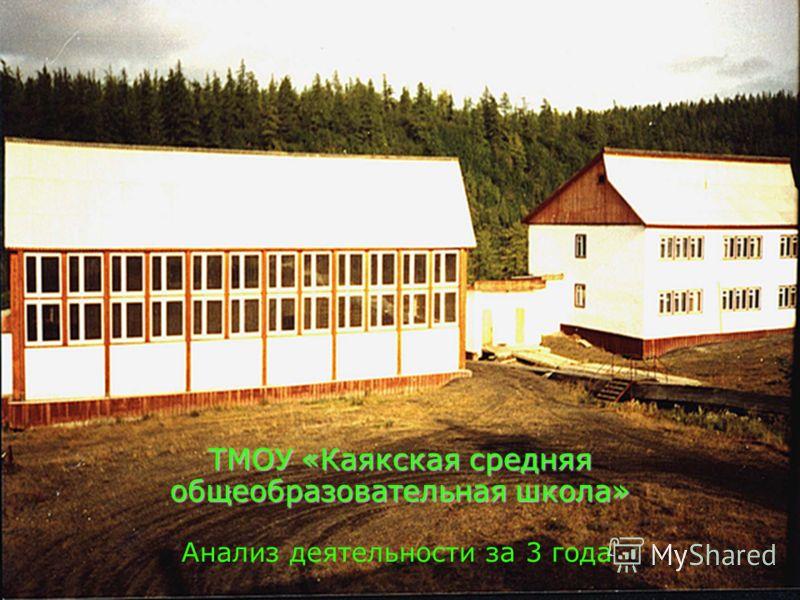 ТМОУ «Каякская средняя общеобразовательная школа» Анализ деятельности за 3 года