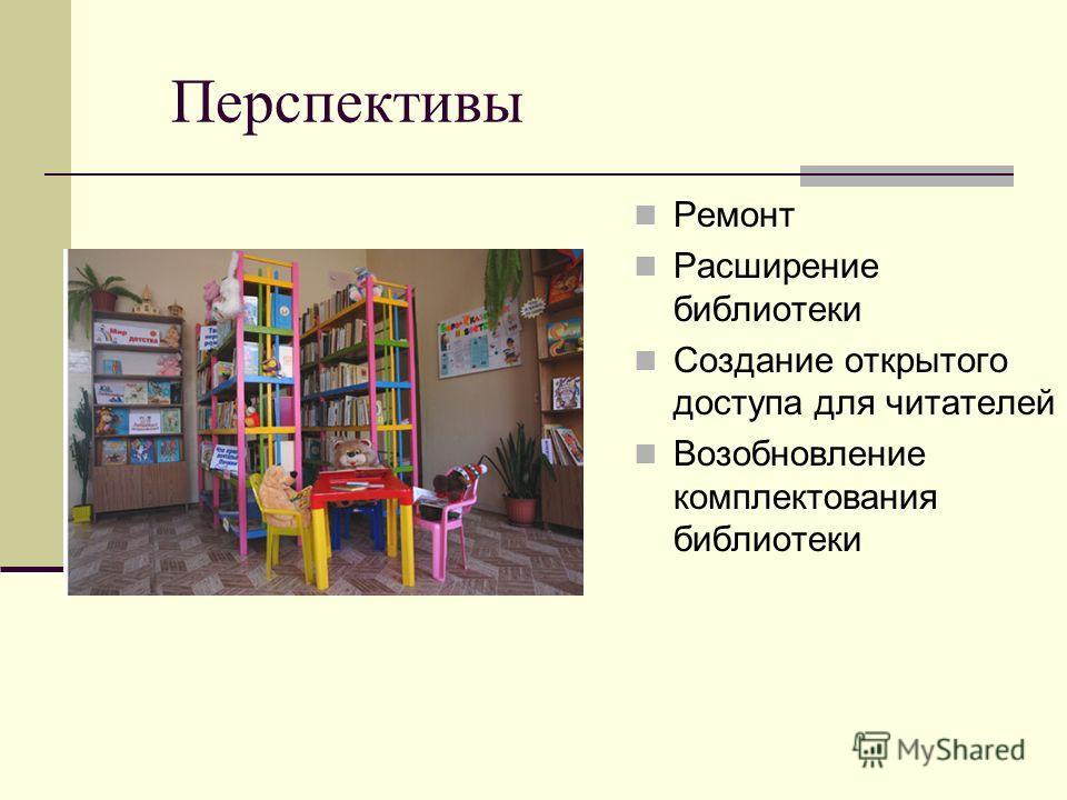 Перспективы Ремонт Расширение библиотеки Создание открытого доступа для читателей Возобновление комплектования библиотеки