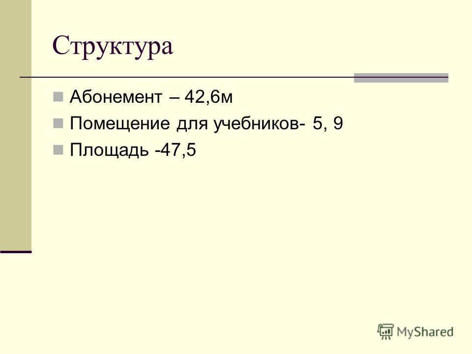 Структура Абонемент – 42,6м Помещение для учебников- 5, 9 Площадь -47,5