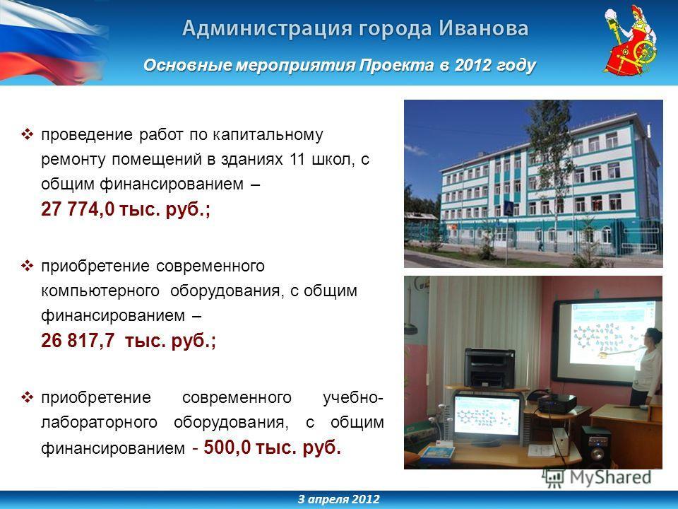 3 апреля 2012 проведение работ по капитальному ремонту помещений в зданиях 11 школ, с общим финансированием – 27 774,0 тыс. руб.; приобретение современного компьютерного оборудования, с общим финансированием – 26 817,7 тыс. руб.; приобретение совреме