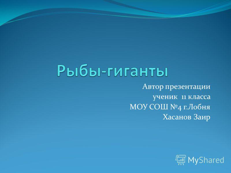Автор презентации ученик 11 класса МОУ СОШ 4 г.Лобня Хасанов Заир