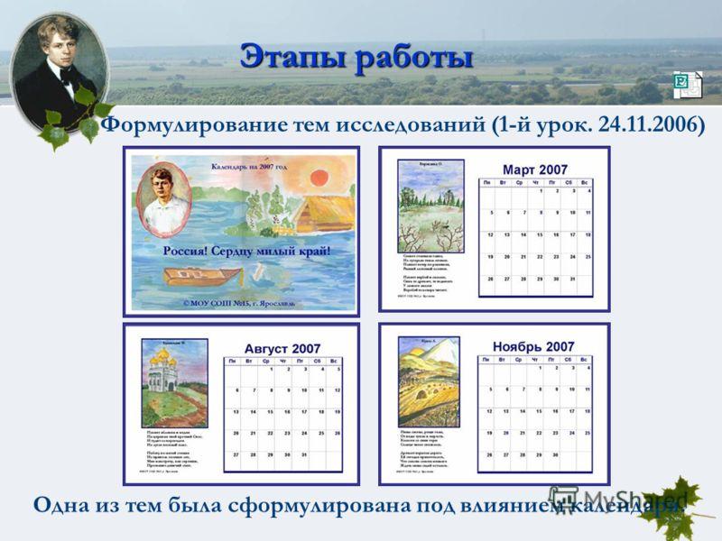 Этапы работы Формулирование тем исследований (1-й урок. 24.11.2006) Одна из тем была сформулирована под влиянием календаря.