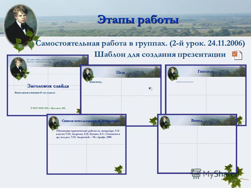 Этапы работы Самостоятельная работа в группах. (2-й урок. 24.11.2006) Шаблон для создания презентации