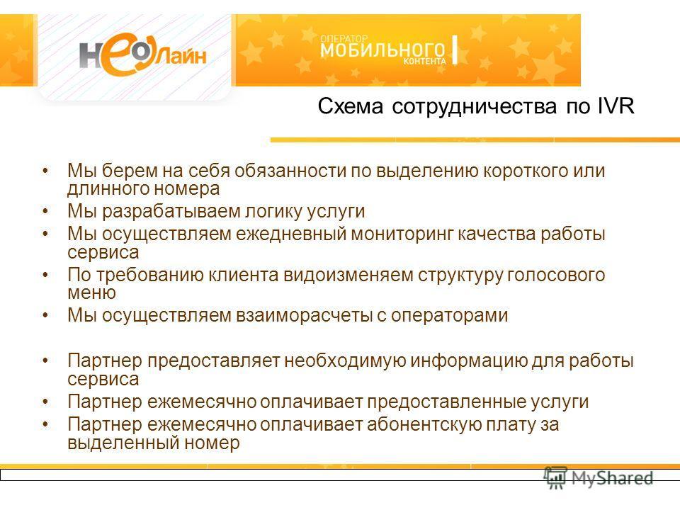 127550, Москва, Большая Академическая 44, +7(495) 950-56-49, www.neoline.biz Схема сотрудничества по IVR Мы берем на себя обязанности по выделению короткого или длинного номера Мы разрабатываем логику услуги Мы осуществляем ежедневный мониторинг каче