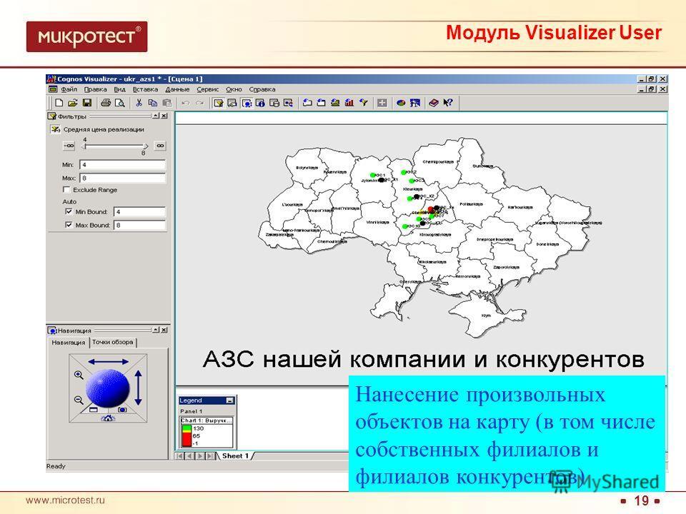 19 Нанесение произвольных объектов на карту (в том числе собственных филиалов и филиалов конкурентов) Модуль Visualizer User