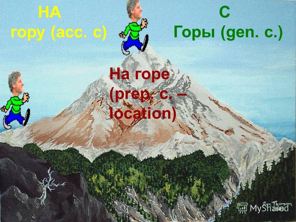 НА гору (acc. c) С Горы (gen. c.) На горе (prep. c. – location)