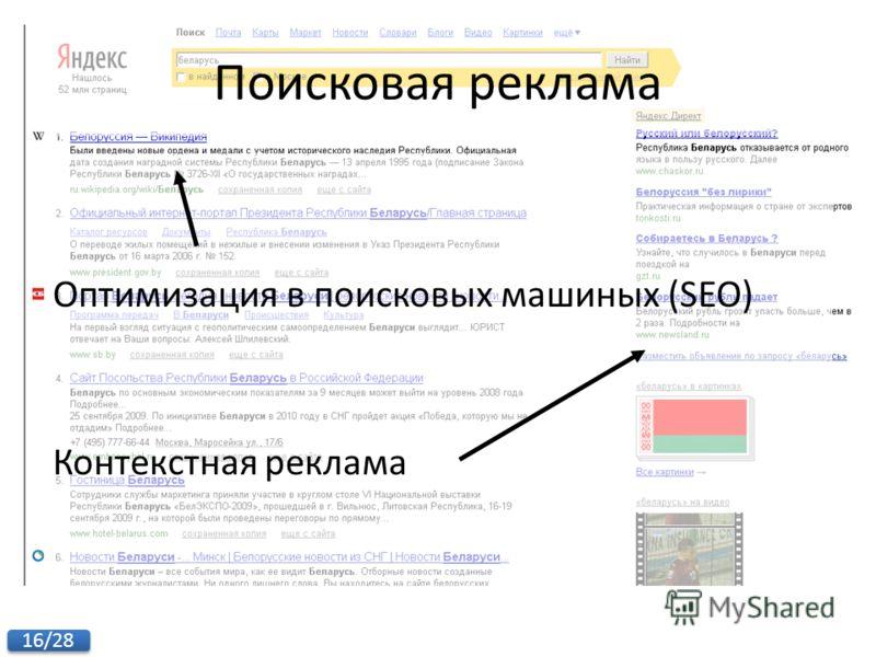 16/28 Поисковая реклама Оптимизация в поисковых машиных (SEO) Контекстная реклама