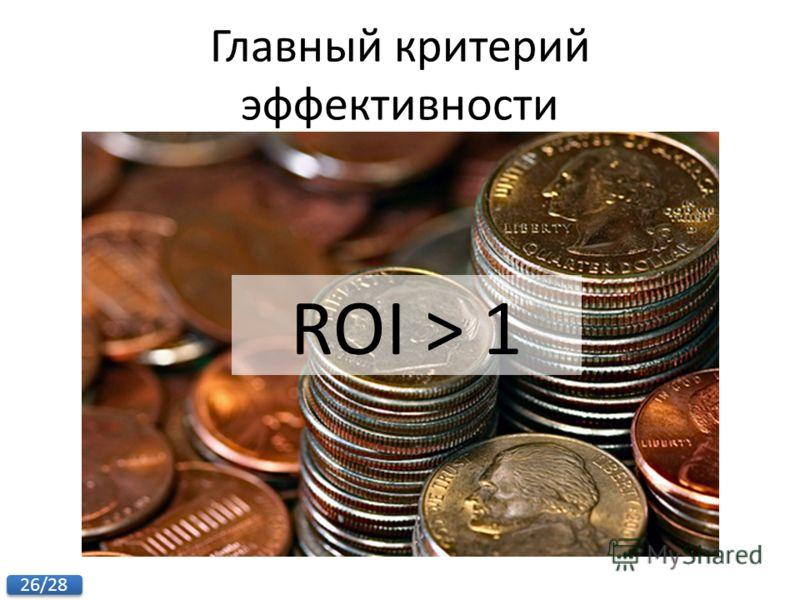 26/28 ROI > 1 Главный критерий эффективности