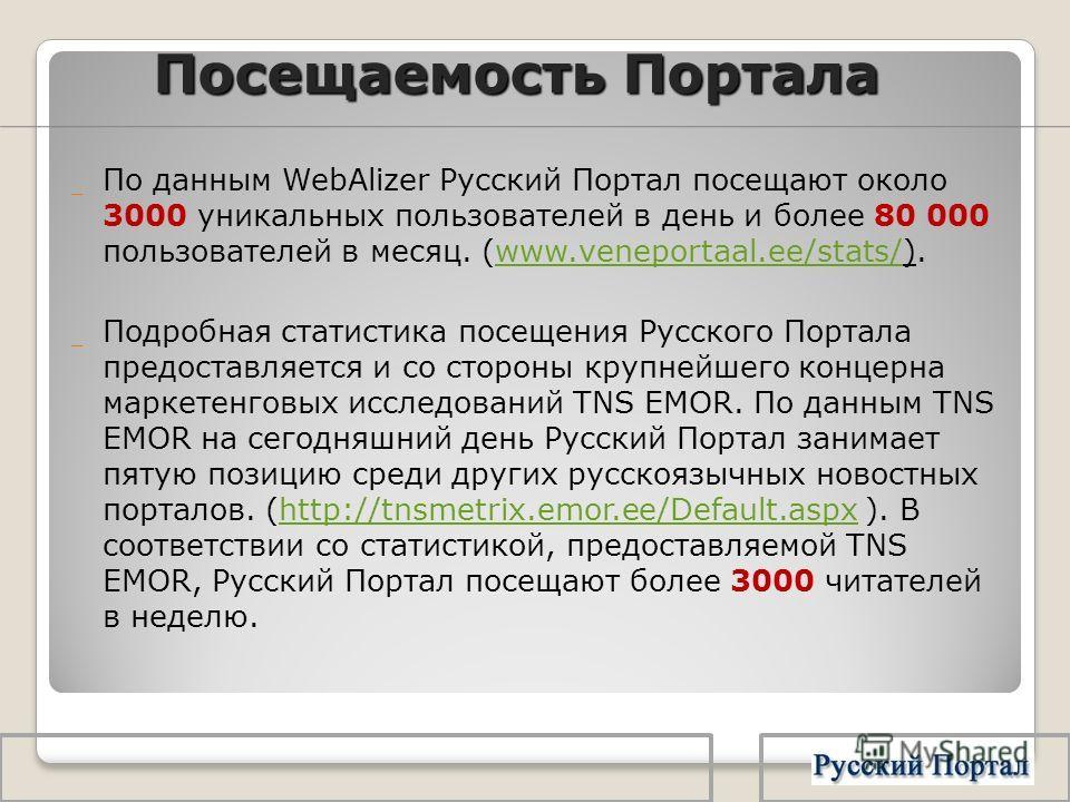 Посещаемость Портала _ По данным WebAlizer Русский Портал посещают около 3000 уникальных пользователей в день и более 80 000 пользователей в месяц. (www.veneportaal.ee/stats/).www.veneportaal.ee/stats/ _ Подробная статистика посещения Русского Портал
