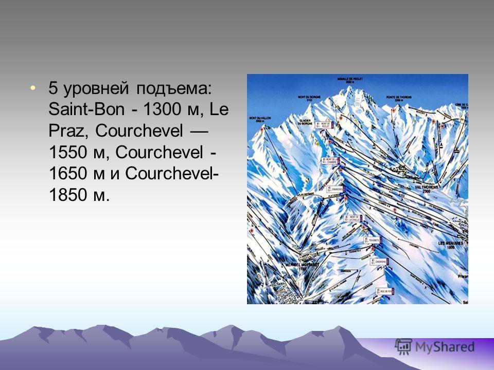 5 уровней подъема: Saint-Bon - 1300 м, Le Praz, Courchevel 1550 м, Courchevel - 1650 м и Courchevel- 1850 м.