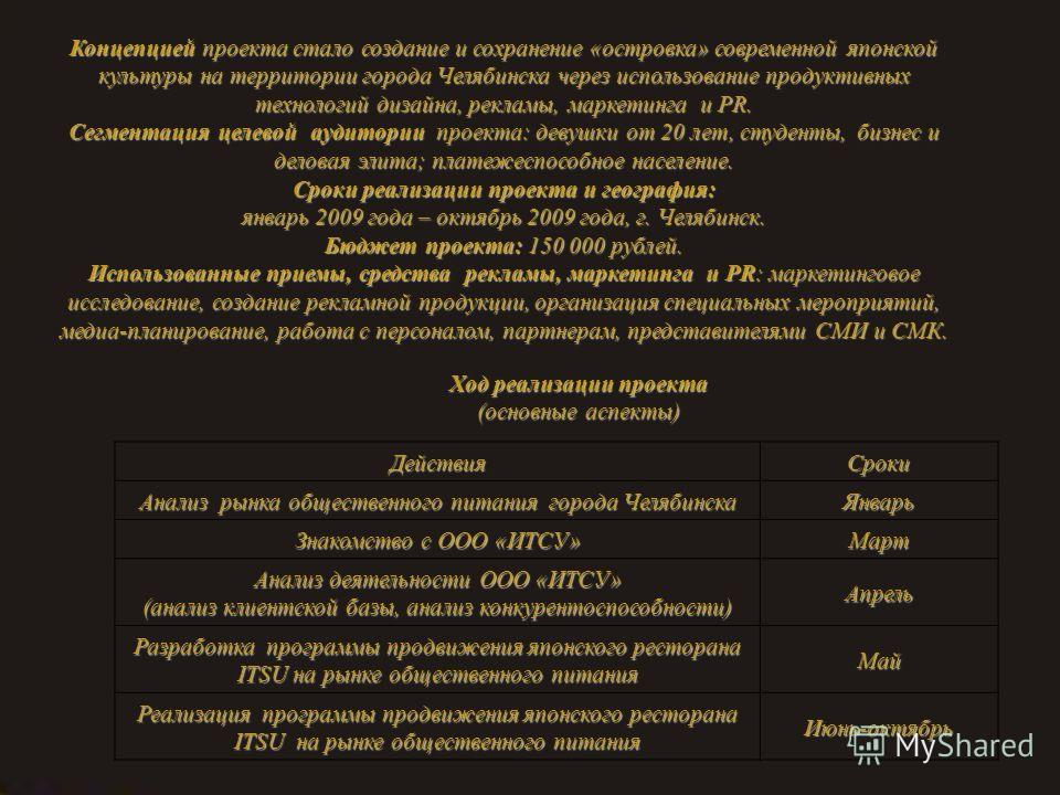 Концепцией проекта стало создание и сохранение «островка» современной японской культуры на территории города Челябинска через использование продуктивных технологий дизайна, рекламы, маркетинга и PR. Сегментация целевой аудитории проекта: девушки от 2