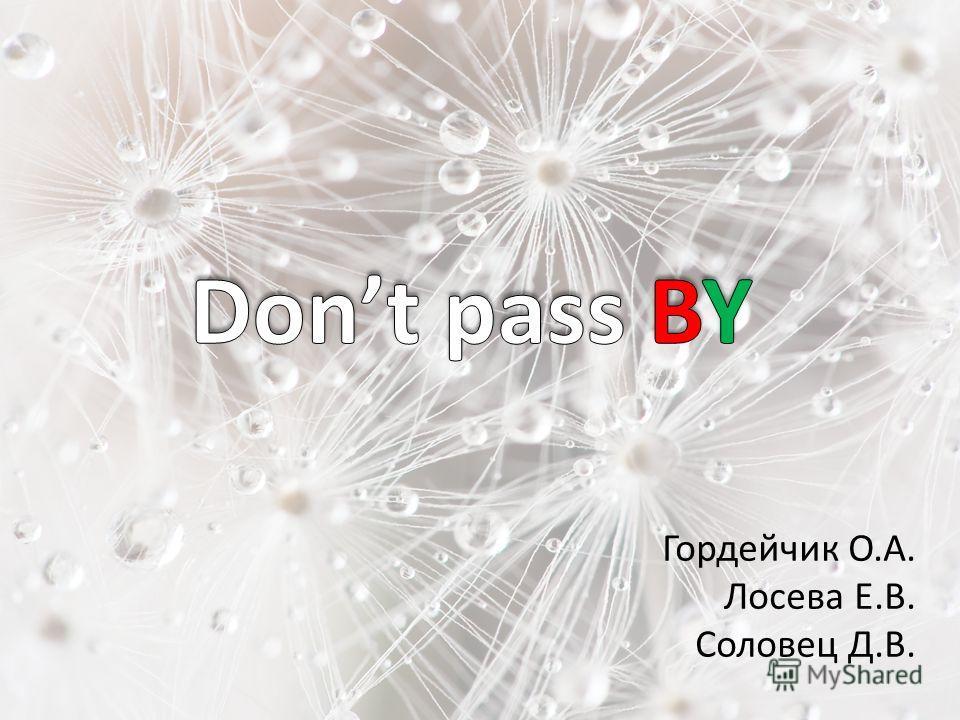 Гордейчик О.А. Лосева Е.В. Соловец Д.В.