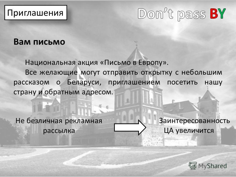 Вам письмо Национальная акция «Письмо в Европу». Все желающие могут отправить открытку с небольшим рассказом о Беларуси, приглашением посетить нашу страну и обратным адресом. Приглашения Заинтересованность ЦА увеличится Не безличная рекламная рассылк
