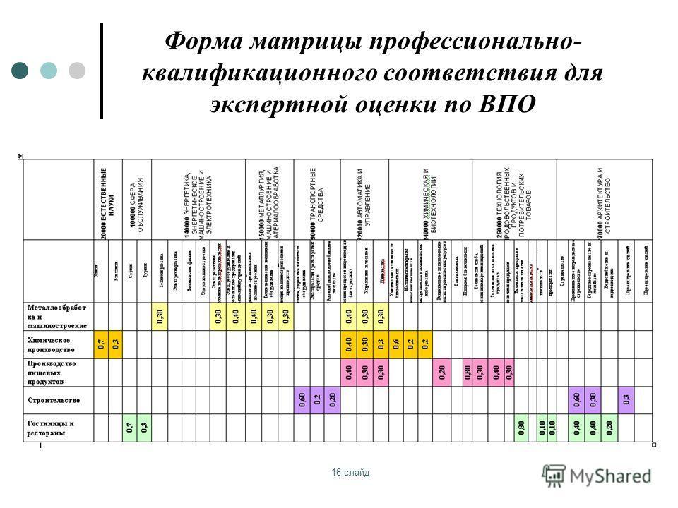 16 слайд Форма матрицы профессионально- квалификационного соответствия для экспертной оценки по ВПО
