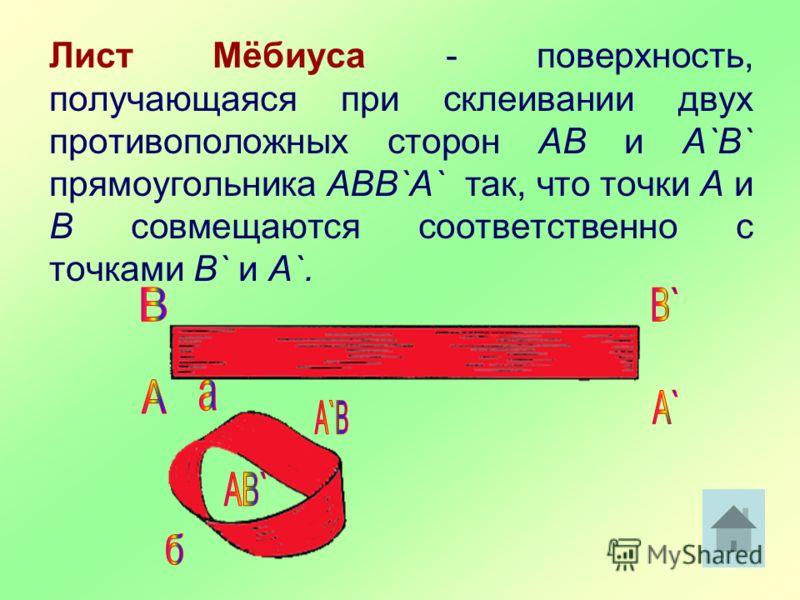 Лист Мёбиуса - поверхность, получающаяся при склеивании двух противоположных сторон AB и А`В` прямоугольника ABB`A` так, что точки А и В совмещаются соответственно с точками B` и A`.