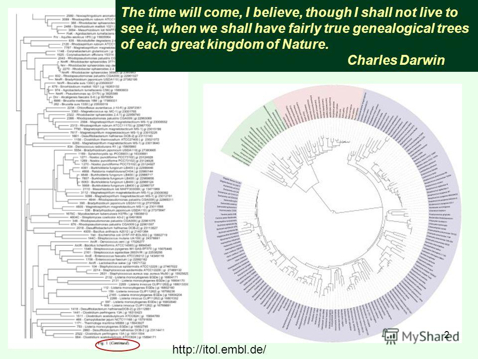 The time will come, I believe, though I shall not live to see it, when we shall have fairly true genealogical trees of each great kingdom of Nature. Charles Darwin http://itol.embl.de/ 2