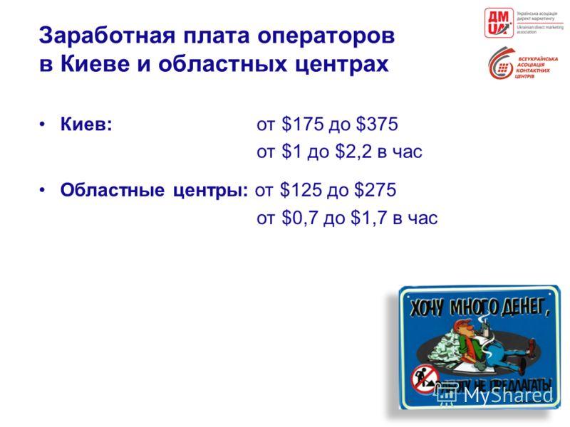 Заработная плата операторов в Киеве и областных центрах Киев: от $175 до $375 от $1 до $2,2 в час Областные центры: от $125 до $275 от $0,7 до $1,7 в час