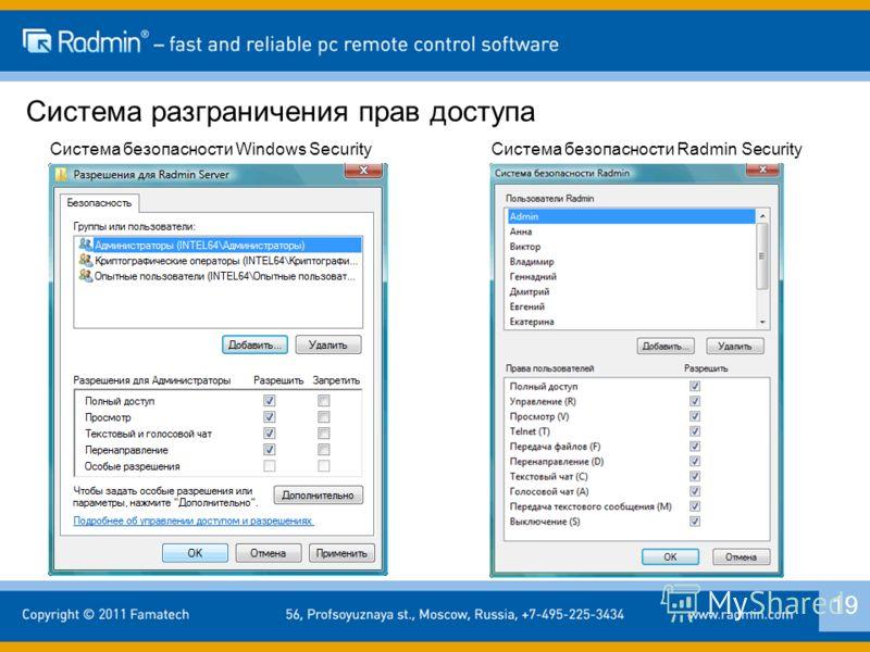 Система разграничения прав доступа 19 Система безопасности Windows SecurityСистема безопасности Radmin Security