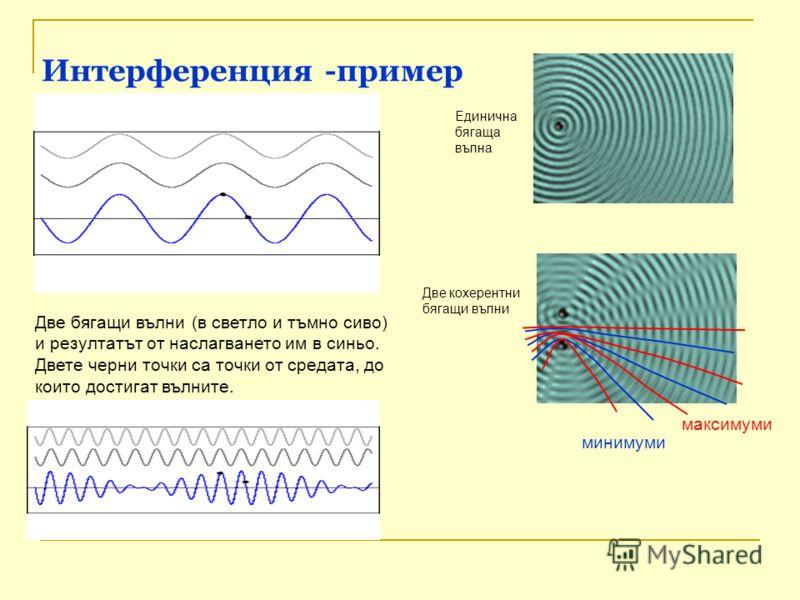 Интерференция -пример Две бягащи вълни (в светло и тъмно сиво) и резултатът от наслагването им в синьо. Двете черни точки са точки от средата, до които достигат вълните. минимуми максимуми Единична бягаща вълна Две кохерентни бягащи вълни