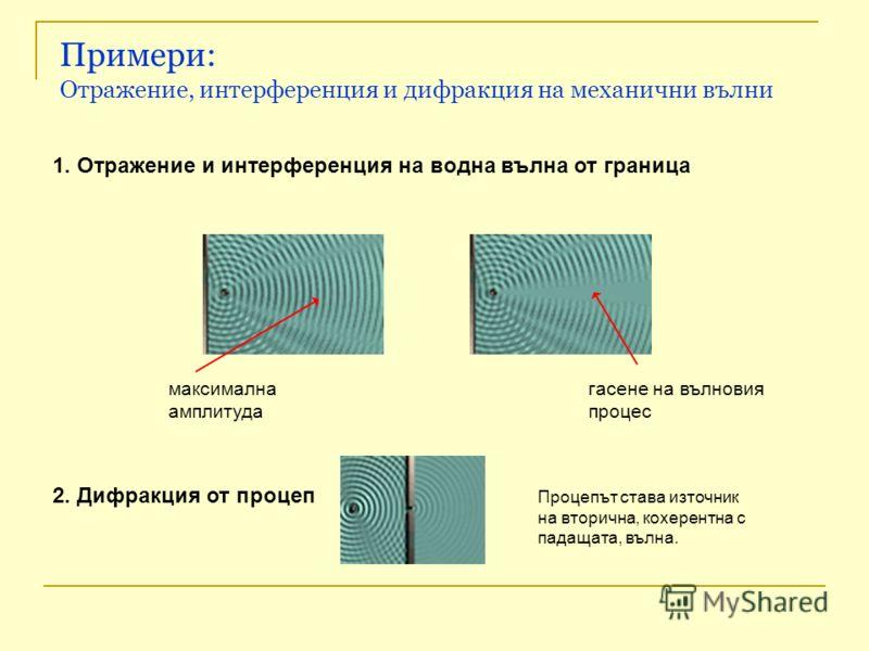 Примери: Отражение, интерференция и дифракция на механични вълни 1. Отражение и интерференция на водна вълна от граница 2. Дифракция от процеп максимална амплитуда гасене на вълновия процес Процепът става източник на вторична, кохерентна с падащата,