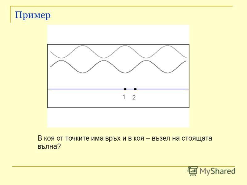 Пример В коя от точките има връх и в коя – възел на стоящата вълна? 1 2