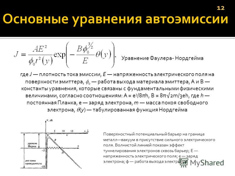 Уравнение Фаулера- Нордгейма где J плотность тока эмиссии, Е напряженность электрического поля на поверхности эмиттера, 0 работа выхода материала эмиттера, А и В константы уравнения, которые связаны с фундаментальными физическими величинами, согласн