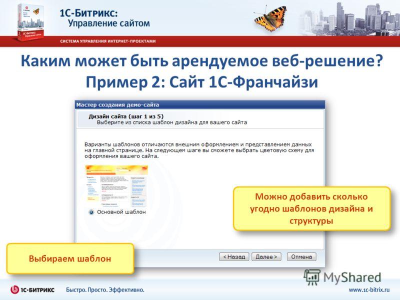 Каким может быть арендуемое веб-решение? Пример 2: Сайт 1С-Франчайзи Можно добавить сколько угодно шаблонов дизайна и структуры Выбираем шаблон