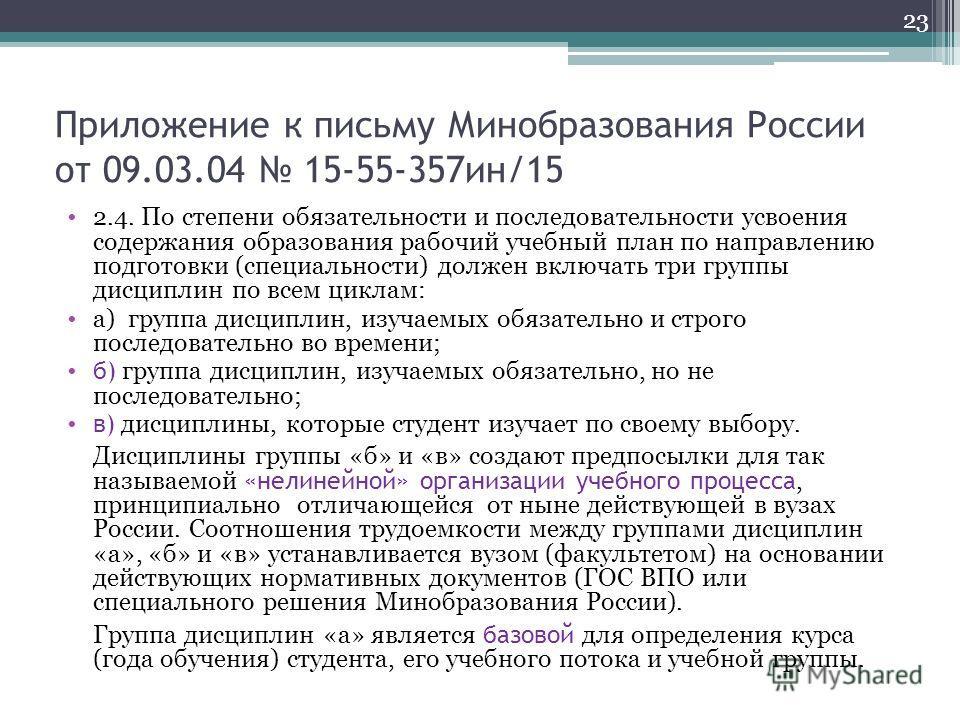 Приложение к письму Минобразования России от 09.03.04 15-55-357ин/15 2.4. По степени обязательности и последовательности усвоения содержания образования рабочий учебный план по направлению подготовки (специальности) должен включать три группы дисципл