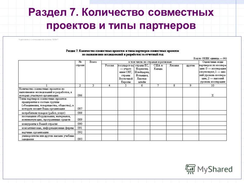 Раздел 7. Количество совместных проектов и типы партнеров