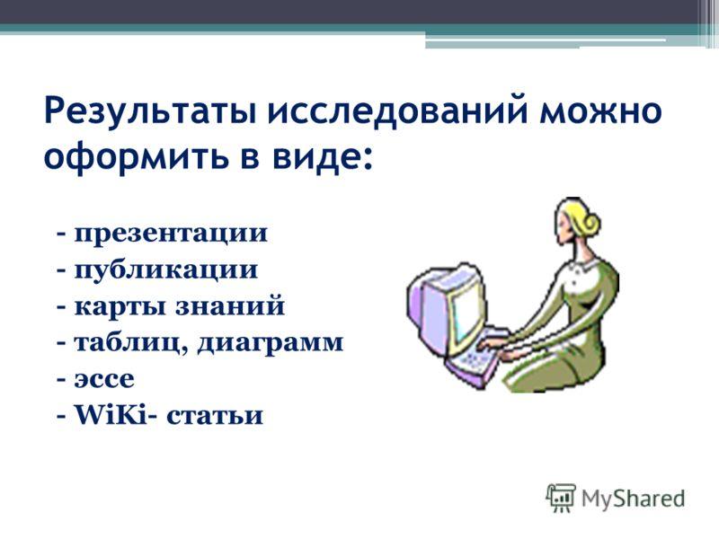 Результаты исследований можно оформить в виде: - презентации - публикации - карты знаний - таблиц, диаграмм - эссе - WiKi- статьи