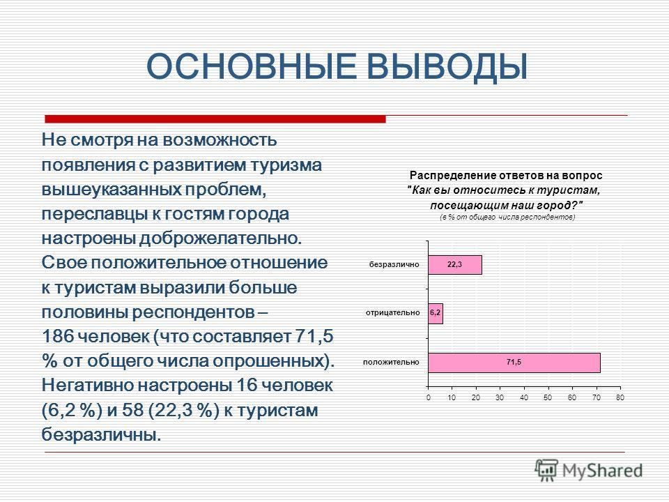 Не смотря на возможность появления с развитием туризма вышеуказанных проблем, переславцы к гостям города настроены доброжелательно. Свое положительное отношение к туристам выразили больше половины респондентов – 186 человек (что составляет 71,5 % от