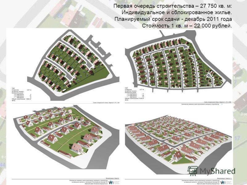 Первая очередь строительства – 27 750 кв. м: Индивидуальное и сблокированное жилье. Планируемый срок сдачи - декабрь 2011 года Стоимость 1 кв. м – 22 000 рублей.