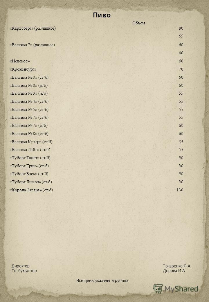 Пиво Объем «Карлсберг» (разливное)80 55 «Балтика 7» (разливное)60 40 «Невское»60 «Кроненбург»70 «Балтика 0» (ст/б)60 «Балтика 0» (ж/б)60 «Балтика 3» (ж/б)55 «Балтика 4» (ст/б)55 «Балтика 5» (ст/б)55 «Балтика 7» (ст/б)55 «Балтика 7» (ж/б)60 «Балтика 8