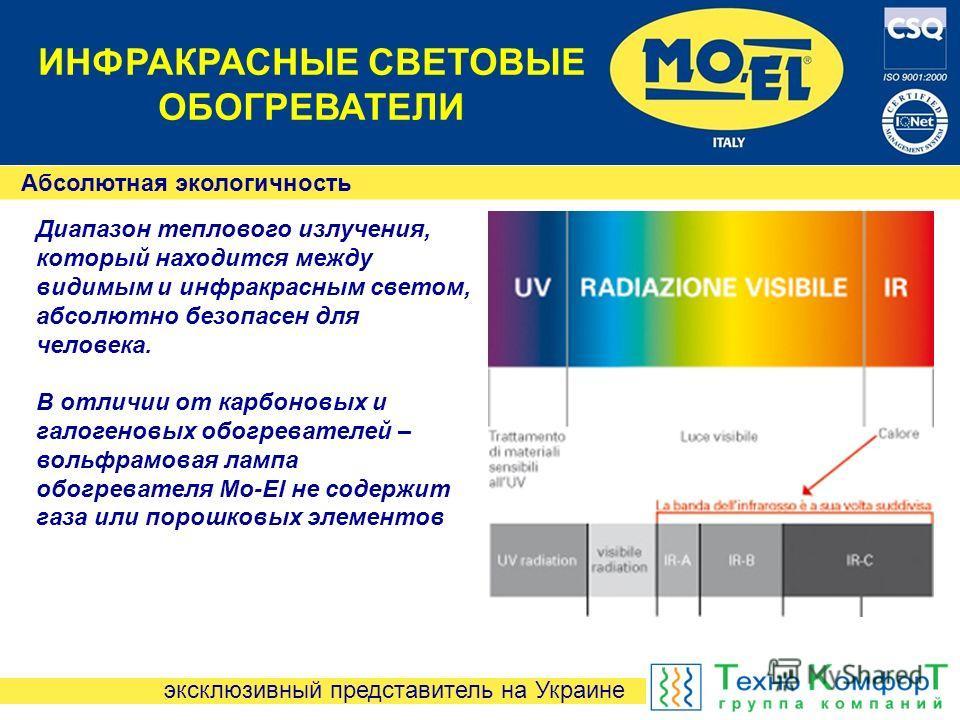 эксклюзивный представитель на Украине ИНФРАКРАСНЫЕ СВЕТОВЫЕ ОБОГРЕВАТЕЛИ Абсолютная экологичность Диапазон теплового излучения, который находится между видимым и инфракрасным светом, абсолютно безопасен для человека. В отличии от карбоновых и галоген