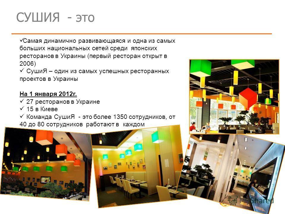 СУШИЯ - это Самая динамично развивающаяся и одна из самых больших национальных сетей среди японских ресторанов в Украины (первый ресторан открыт в 2006) СушиЯ – один из самых успешных ресторанных проектов в Украины На 1 января 2012г. 27 ресторанов в