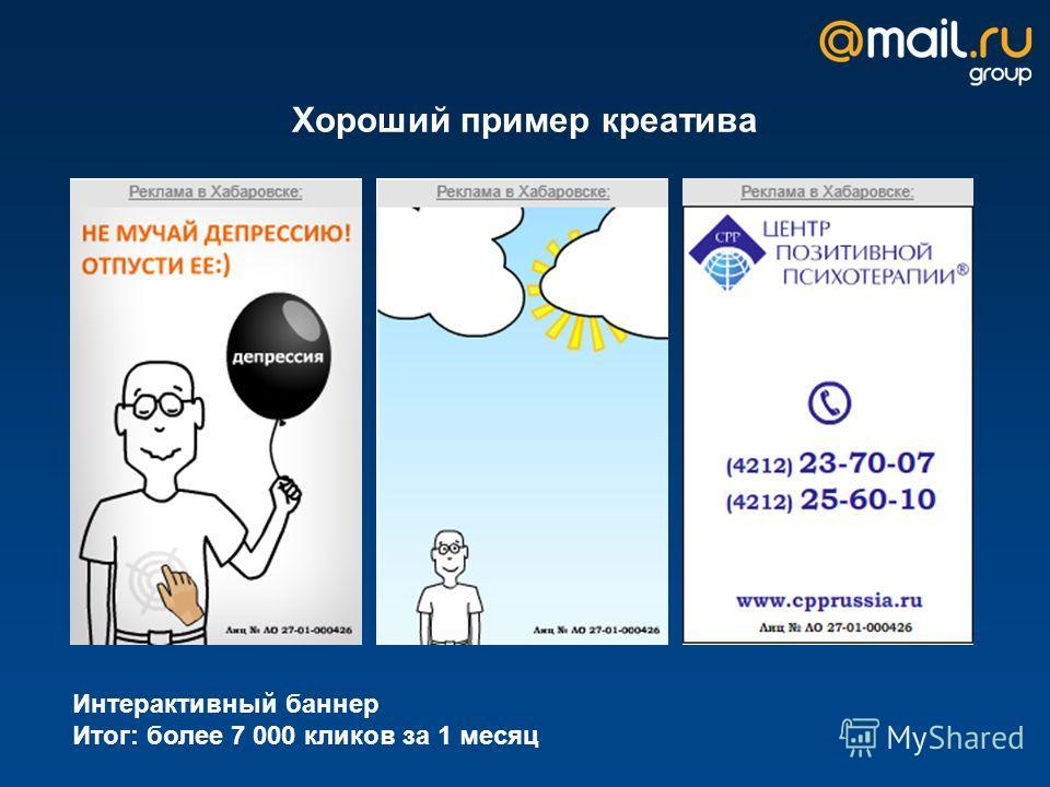 Хороший пример креатива Интерактивный баннер Итог: более 7 000 кликов за 1 месяц