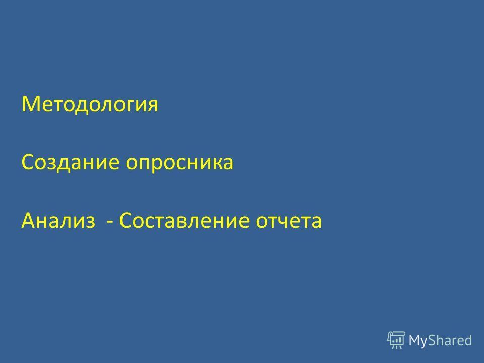 GATS, Российская Федерация, 2009 Методология Создание опросника Анализ - Составление отчета